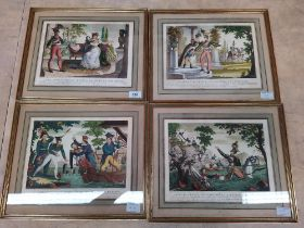A set of four 19th Century French coloured engravings depicting Prince Poniatowski leaving to fight