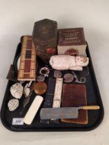 Mixed items including ammonites, vintage razors, cribbage board, 'Ful-Vul' camera,
