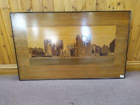 A large marquetry picture depicting the ruins of Elgin Cathedral,