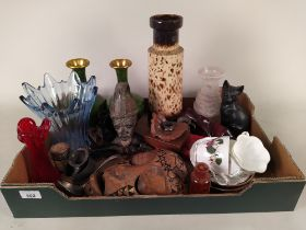 A mixed lot comprising of a pair of 20th Century green cloisonne vases, glass Art Glass,