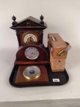 A large vintage wooden cased mantel clock,