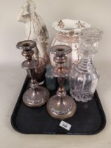 A pair of silver plate on copper candlesticks, a Parian figure, a Victorian cut decanter,