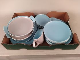 A c1960's Poole dinner service including six dinner, six side and six tea plates, two tureens,