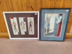 A framed silk patchwork picture, a woolwork picture,