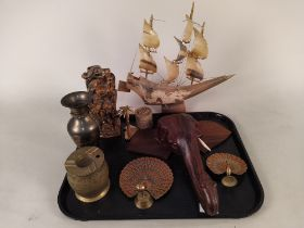 A horn sailing ship, a carved hardstone water buffalo,