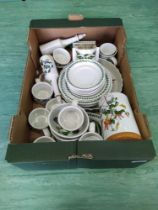 A box of assorted Portmeirion china,