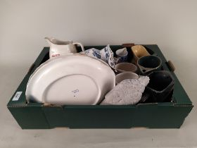 A box of vintage advertising jugs plus various blue and white Victorian china etc