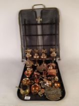 A folding brass fire screen, a spoon collectors rack,