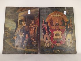 Two late 19th Century hand painted wood panel pictures, one depicting a family outside of a cottage,