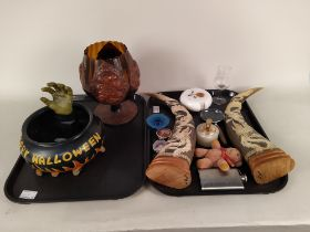 A mixed lot including a pair of composition 'horn' ornaments with applied oriental dragon designs,