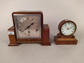 A late 19th Century oak framed mantel clock plus an Art Deco walnut striking/chiming mantel clock