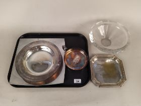Four items of plated presentation pieces of horse racing interest including a salver presented to