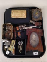 Mixed items including an inlaid photo frame with WWI soldier, various costume jewellery,