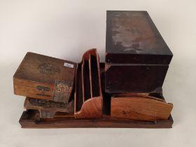 A wooden inlaid tray plus a tea caddy, H Upmann Havana cigar box (no contents),