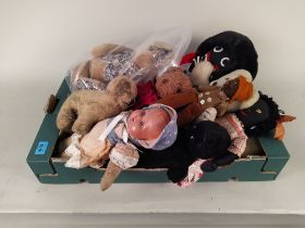 A good selection of vintage soft toys including teddies, Golly's,