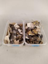 Two small tubs of antique livery buttons, mainly 19th Century, brass and white metal examples,