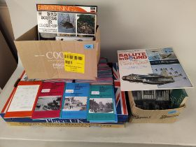 Three boxes of mixed items including many reprinted in the 90's of early ordnance survey maps from