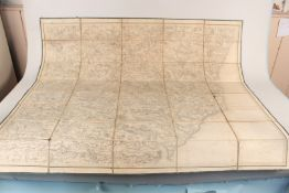 A large Victorian ordnance survey map of Suffolk dated 1838, paper on linen back,