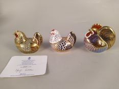 Three boxed Royal Crown Derby gold stopper paperweights, cockerel 9cm,