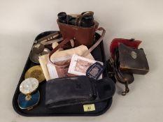 Mixed items including a small pair of Leitz Wetlar 8x32 binoculars (good optics) plus one other