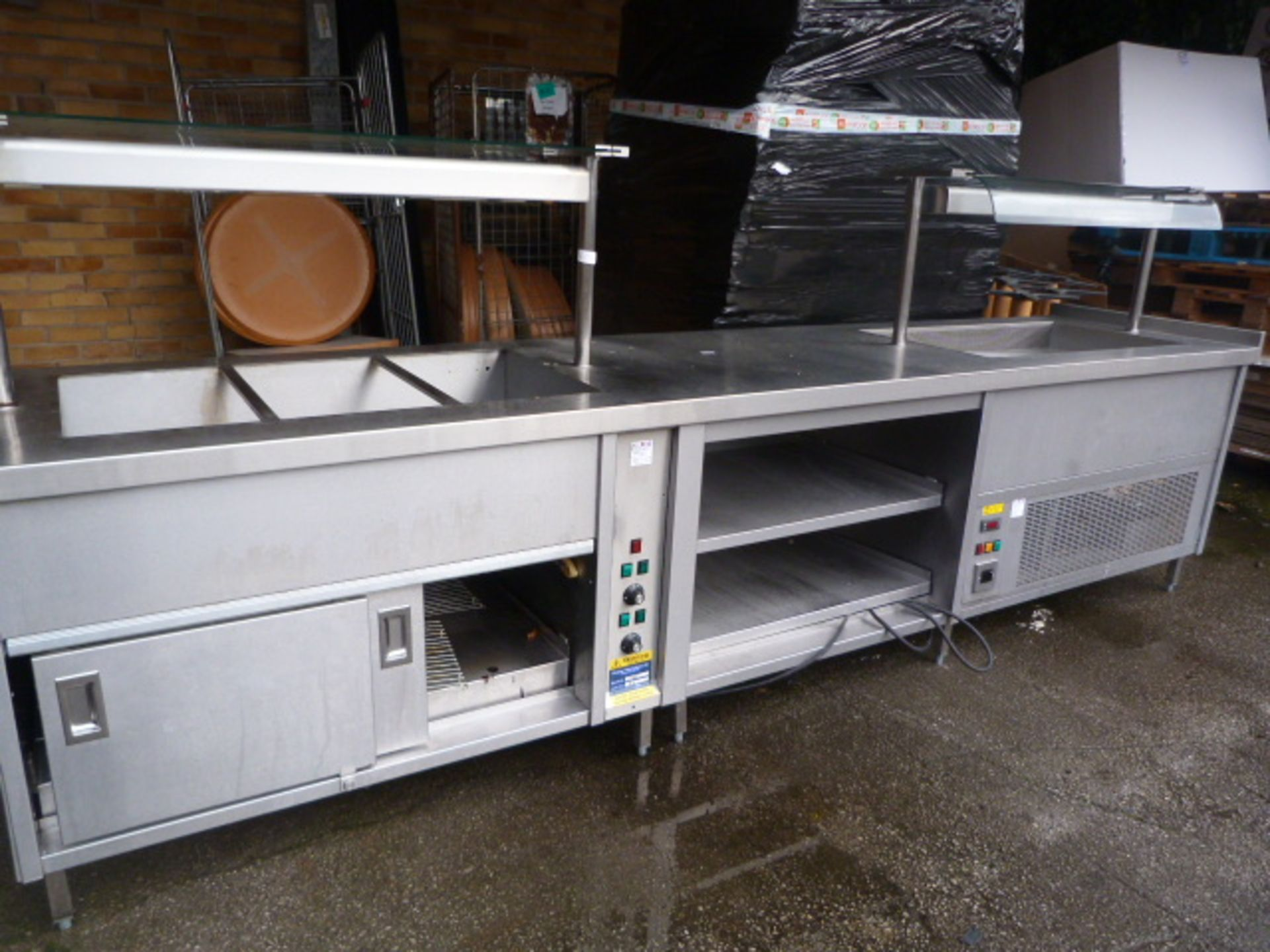 Servery Unit Comprising of Hot Cupboard, Bain Marie & Chilled Serving Unit - Full Working when Remov