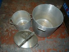 *Two Large Aluminium Twin Handled Pans etc