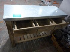 *Three Drawer Serving Unit with Galvanised Top on Butcher Block Style Legs