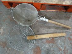 *Two Large Wooden Handled Strainers