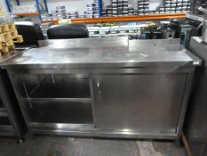 *Stainless Steel Shaped Storage Cupboard with Shelves Enclosed by Sliding Doors 155cm (w) x 75cm (D)