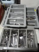 *Four Cutlery Trays with Assorted Stainless Knives, Forks & Spoons