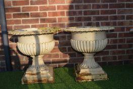 Pair of Victorian Cast Iron Garden Planters 50cm tall, 52cm diameter