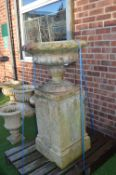 Stoneware garden Planter on Plinth 115cm tall