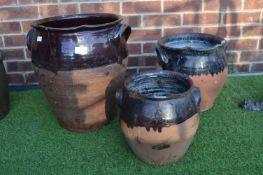Three Salt Glazed Terracotta Garden Pots (One AF)