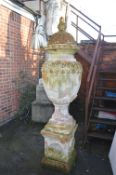 Victorian Terracotta Urn with Lid on Plinth 7ft tall