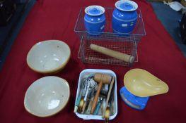 Kitchenalia; Bretby Storage Jars, Utensils, Mixing Bowls, and Stationery Rack