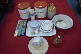 Kitchenalia; Cake Tins, Jelly Moulds, Enamelware, etc.