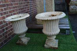 Pair of Small Victorian Cast Iron Garden Planters 50cm tall, 40cm diameter