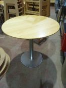 * 4 x wooden topped round table with S/S base 750 diameter x 750h