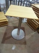 * 5 x wooden topped tables with S/S bases 600w x 600d x 750h
