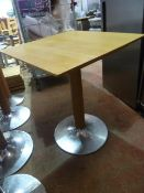* 3 x wooden topped square tables with chrome and wooden base 690w x 690d x 750h