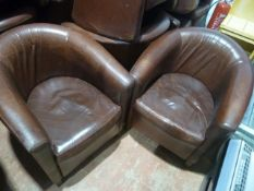 * 6 x red leather tub chairs