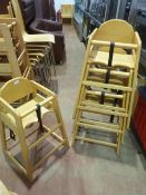 * 4 x wooden stacking high chairs