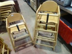 * 3 x wooden stacking high chairs