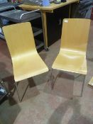 * 12 x beech effect café chairs with chrome legs
