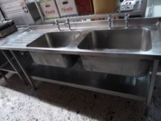 *double sink with left hand drainer complete with 2 sets of taps and undershelf 1900w x 650d x 860h