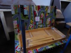*3 x wooden tables with cartoon tops 1360w x 700d x 630h
