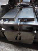 *double 3 phase electric pressure fryer with 2 baskets 800w x 100d x 1000h