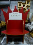 *childs red happy birthday 'crown' seat