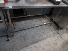 *S/S prep bench with comercial tin opener attatched to right hand side 1400w x 600d x 830h