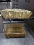 *S/S display stand with 2 wicker baskets